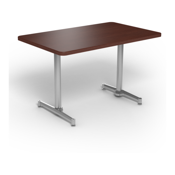 Center Stage, table-height, rectangular table. Formal mahogany & silver weldment.