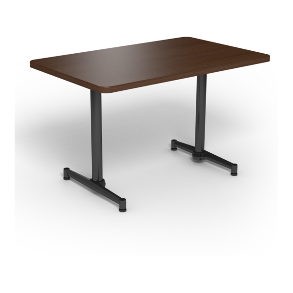 Center Stage, table-height, rectangular table. Gunstock savoy & black weldment.