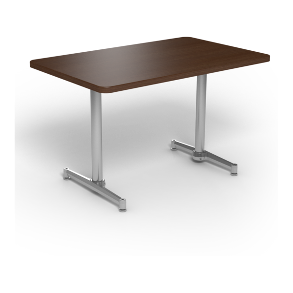 Center Stage, table-height, rectangular table. Gunstock savoy & silver weldment