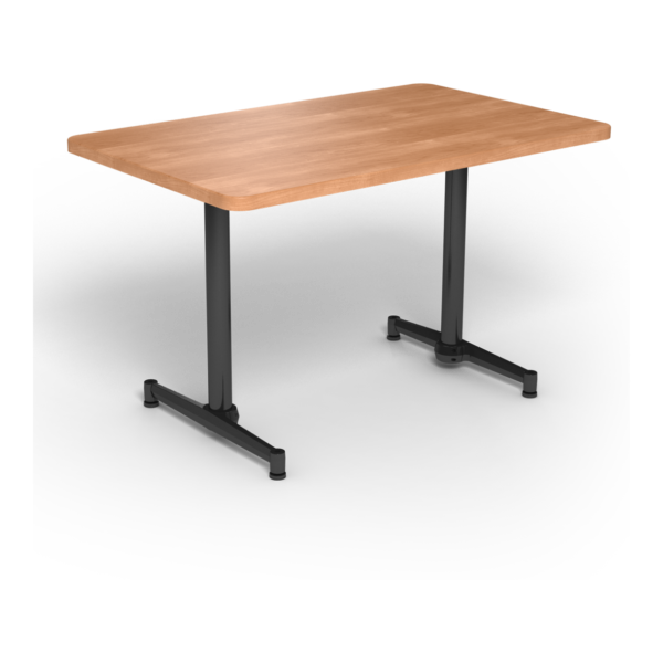 Center Stage, table-height, rectangular table. Honey maple & black weldment.