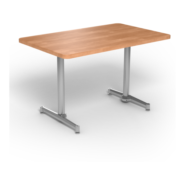 Center Stage, table-height, rectangular table. Honey maple & silver weldment.