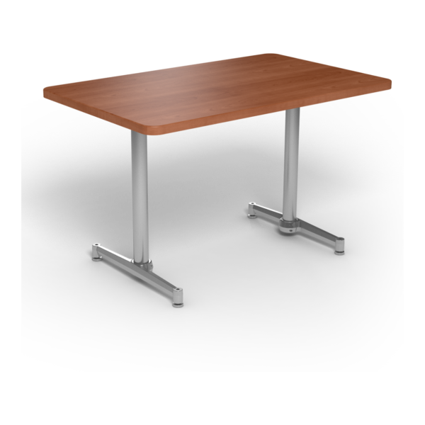 Center Stage, table-height, rectangular table. Oiled cherry & silver weldment