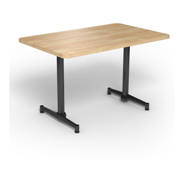 Center Stage, table-height, rectangular table. Sugar maple & black weldment
