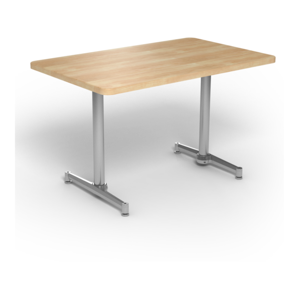 Center Stage, table-height, rectangular table. Sugar maple & silver weldment.