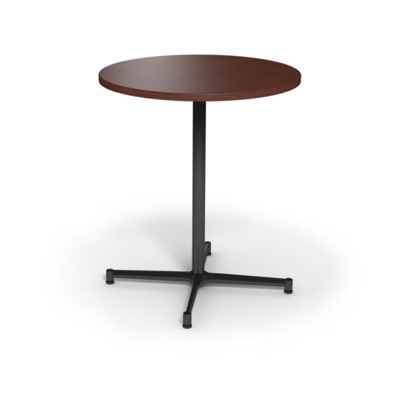 Center Stage, bar height, round table. Formal mahogany & black weldment.