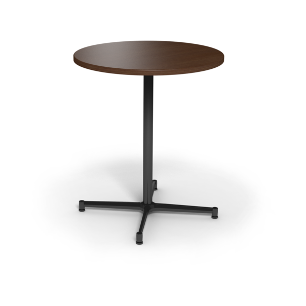 Center Stage, bar height, round table. Gunstock savoy & black weldment.