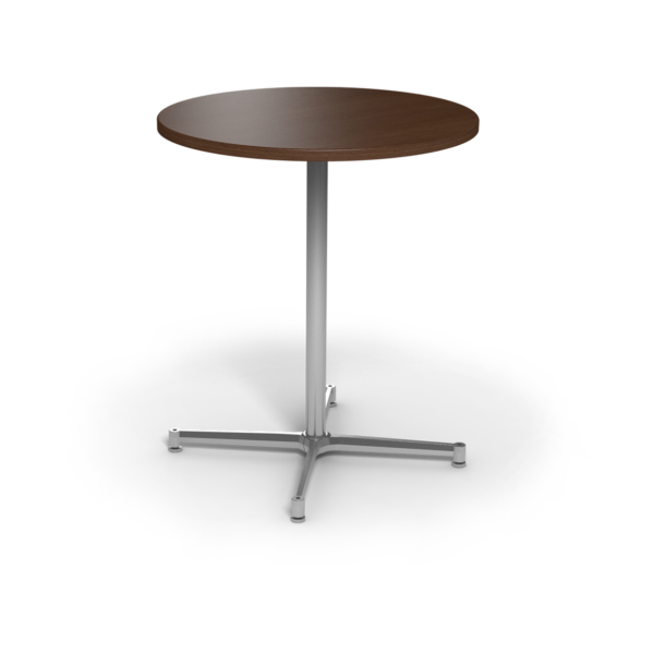 Center Stage, bar height, round table. Gunstock savoy & silver weldment.