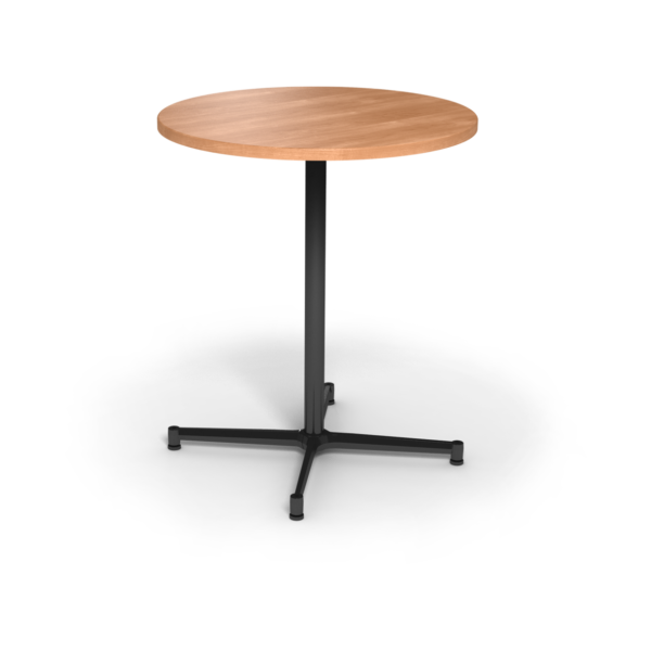 Center Stage, bar height, round table. Honey maple & black weldment.