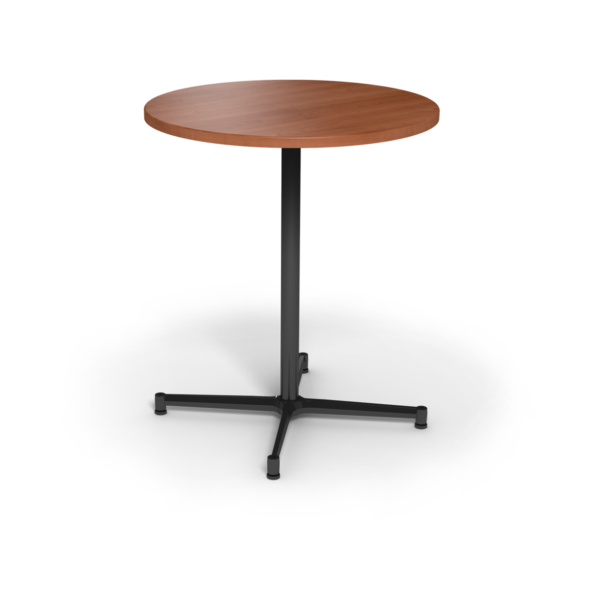 Center Stage, bar height, round table. Oiled cherry & black weldment.