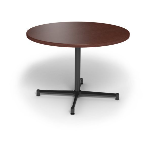Center Stage, table height, round table. Formal mahogany & black weldment.
