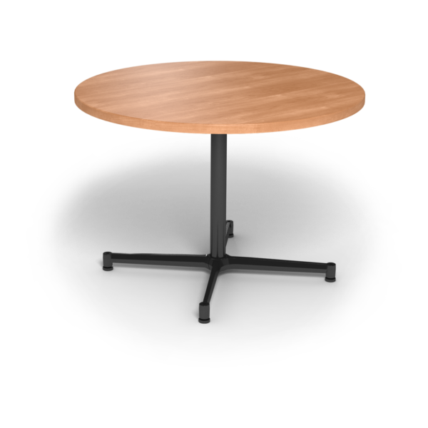 Center Stage, table height, round table. Honey maple & black weldment.