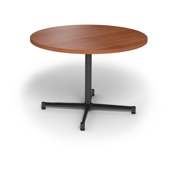 Center Stage, table height, round table. Oiled cherry & black weldment.