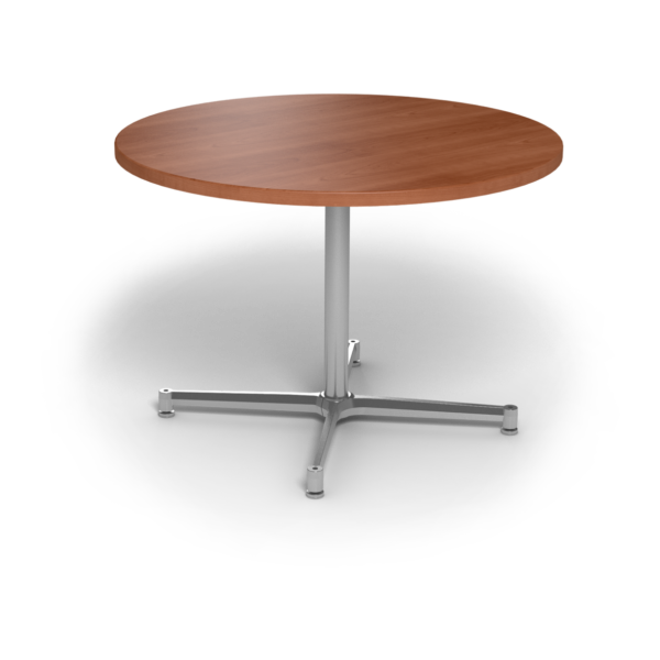 Center Stage, table height, round table. Oiled cherry & silver weldment.