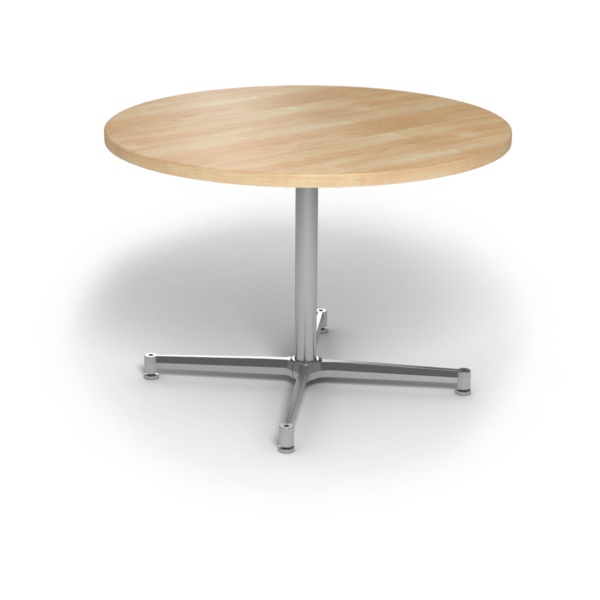 Center Stage, table height, round table. Sugar maple & silver weldment