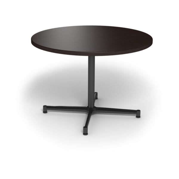 Center Stage, table height, round table. Witchcraft & black weldment.