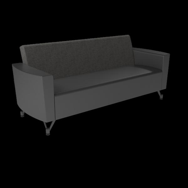 Center Stage Sofa. Cover Cloth Taiga & Black Vinyl