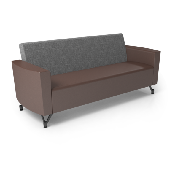 Center Stage Sofa. Cover Cloth Vesper & Mocha Vinyl