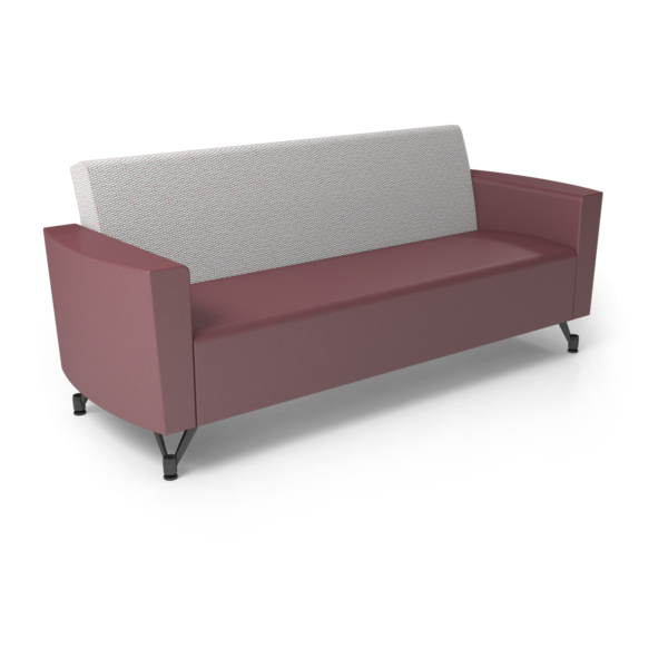 Center Stage Sofa. Habit Salt & Dark Cherry Vinyl