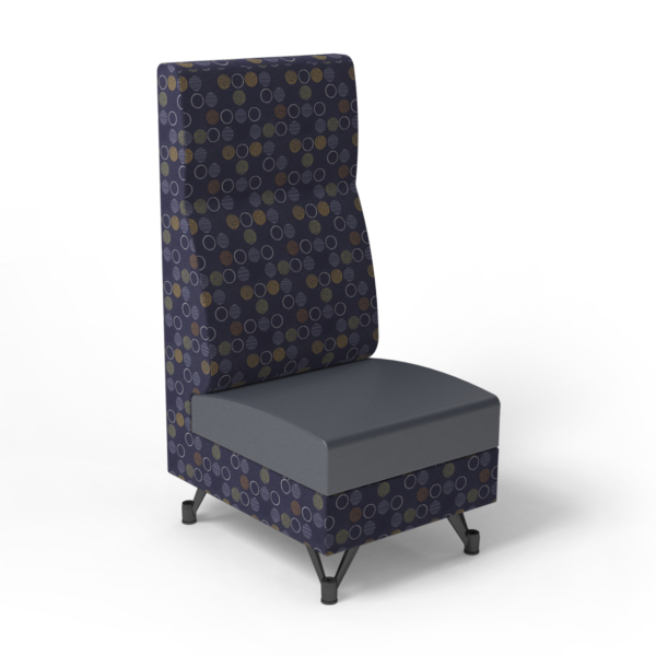 Center Stage, Single High Back Chair. Amuse admiral & imperial blue vinyl