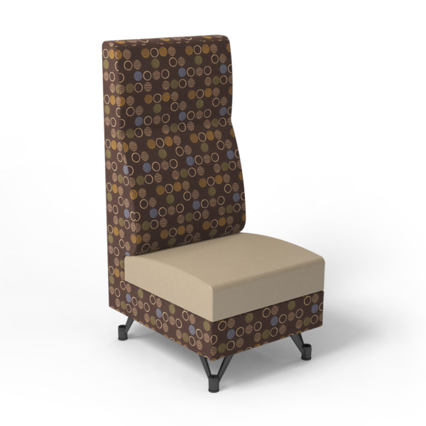 Center Stage, Single High Back Chair. Amuse mocha & sand vinyl
