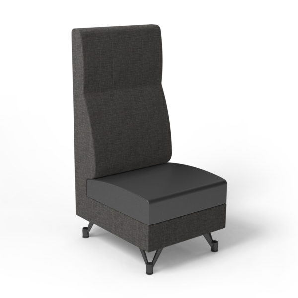 Center Stage, Single High Back Chair. Cover cloth taiga & black vinyl