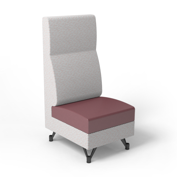 Center Stage, Single High Back Chair. Habit salt & dark cherry vinyl