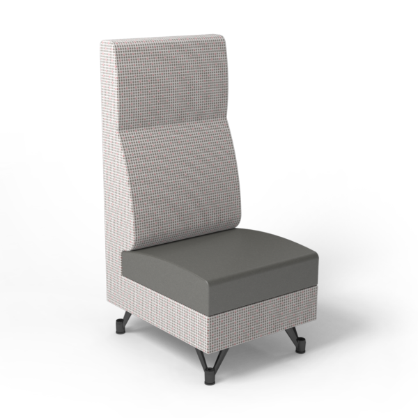 Center Stage, Single High Back Chair. Knack glaze & gunmetal vinyl