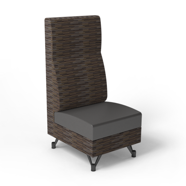 Center Stage, Single High Back Chair. Strut pepper & espresso vinyl