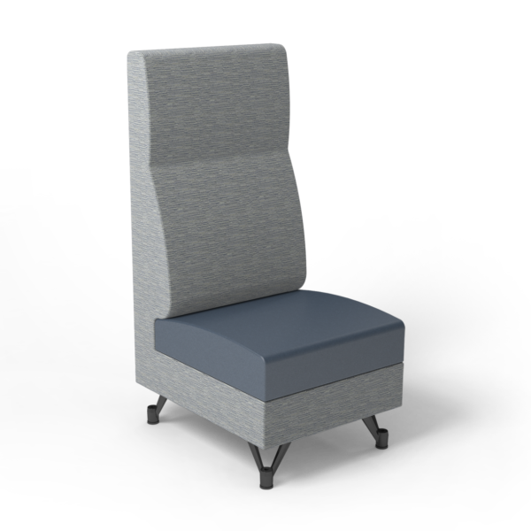 Center Stage, Single High Back Chair. Synergy Aegean & Blue Ridge Vinyl