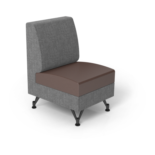 Center Stage Single Seat. Cover Cloth Vesper & Mocha Vinyl.