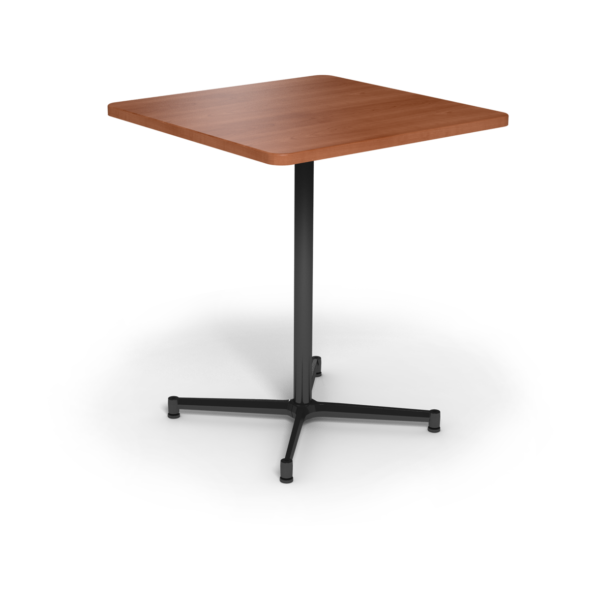 Center Stage Bar Height Square Table. Oiled Cherry & Silver Weldment