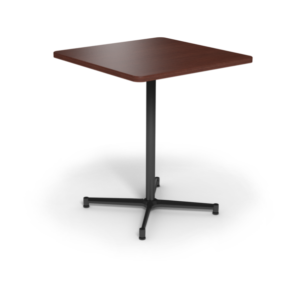 Center Stage Bar Height Square Table. Formal Mahogany & Black Weldment