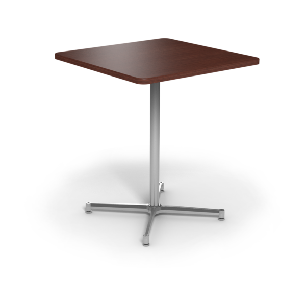 Center Stage Bar Height Square Table.Formal Mahogany & Silver Weldment