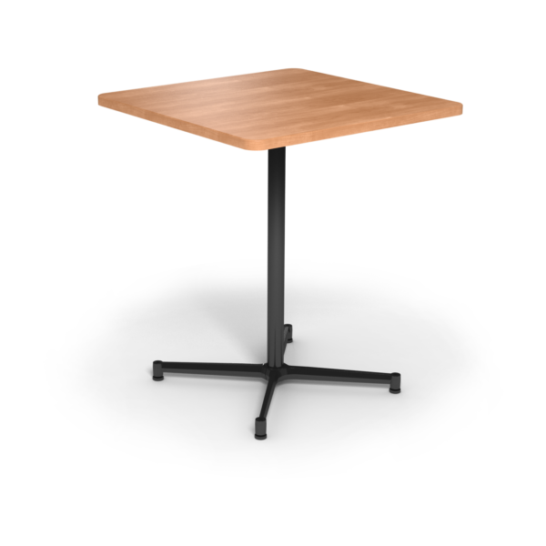 Center Stage Bar Height Square Table. Honey Maple & Black Weldment