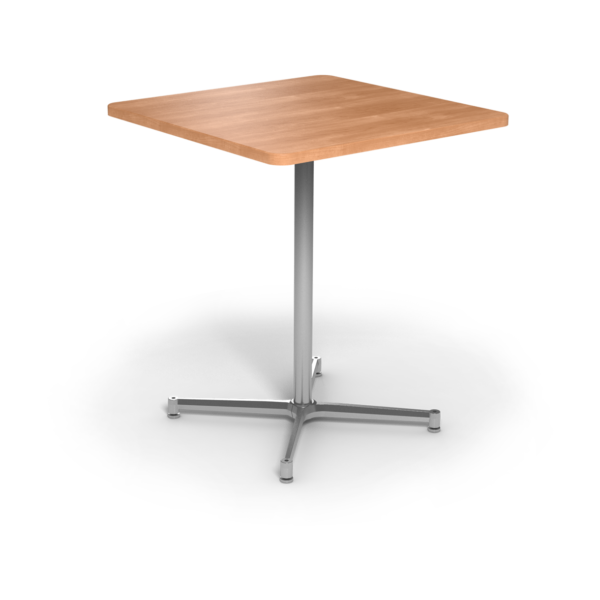 Center Stage Bar Height Square Table. Honey Maple & Silver Weldment