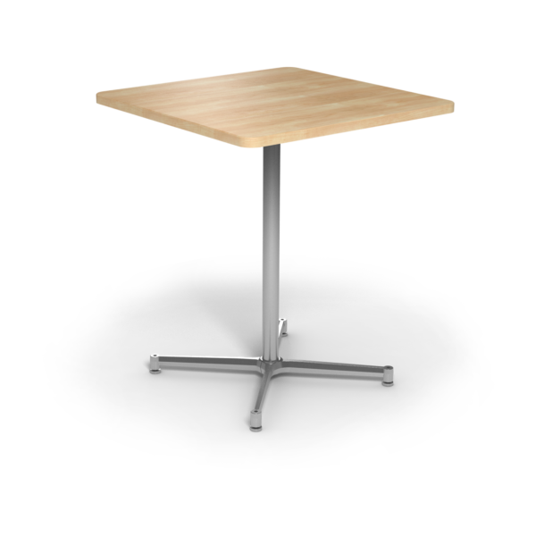Center Stage Bar Height Square Table. Sugar Maple & Silver Weldment