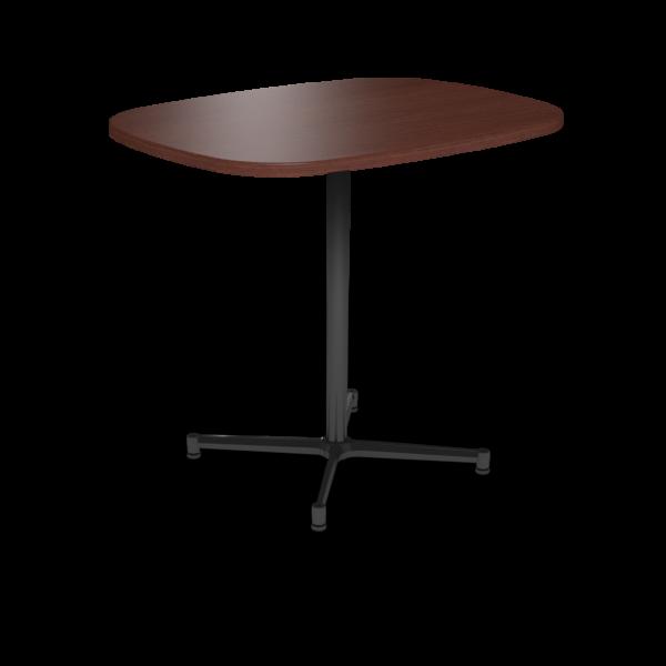 Center Stage Bar Height Super Elliptical Table. Formal Mahogany & Black Weldment