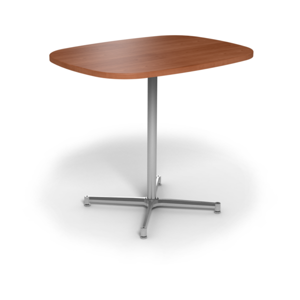 Center Stage Bar Height Super Elliptical Table. Oiled Cherry & Silver Weldment