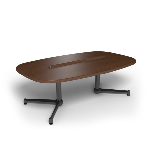 Center Stage Super Elliptical Table. Gunstock Savoy & Black Weldment.