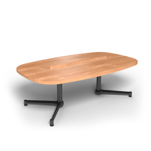 Center Stage Super Elliptical Table. Honey Maple & Black Weldment.