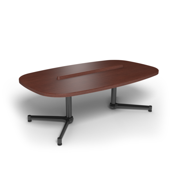 Center Stage Super Elliptical Table. Formal Mahogany & Black Weldment.