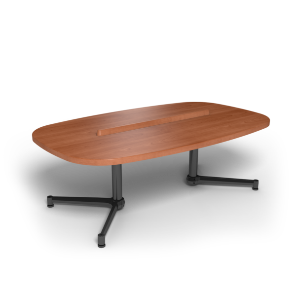 Center Stage Super Elliptical Table. Oiled Cherry & Black Weldment.