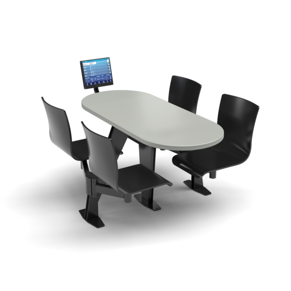 CS, Swing Swivel, Oval Fashion Gray Table, Jet Black Plyform Chair with Black Weldment