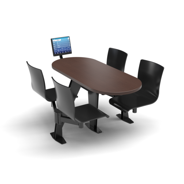 CS, Swing Swivel, Oval Formal Mahogany Table, Jet Black Plyform Chair with Black Weldment