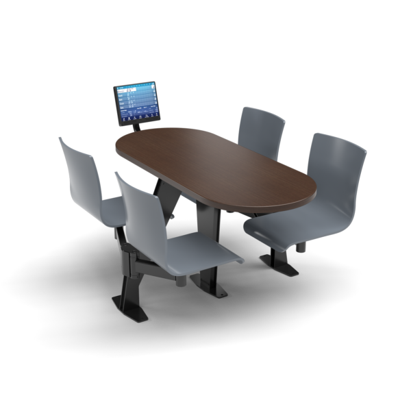 CS, Swing Swivel, Oval Gunstock Savoy Table, Graphite Blue Plyform Chair with Black Weldment