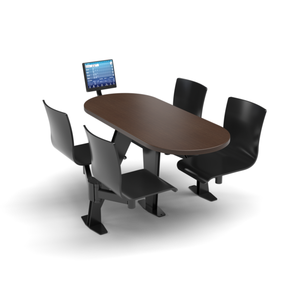 CS, Swing Swivel, Oval Gunstock Savoy Table, Jet Black Plyform Chair with Black Weldment