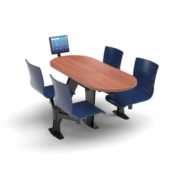 CS, Swing Swivel, Oval Oiled Cherry Table, Regimental Blue Plyform Chair with Black Weldment