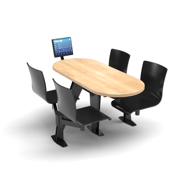 CS Swing Swivel, Oval Sugar Maple Table, Jet Black Plyform Chair with Black Weldment