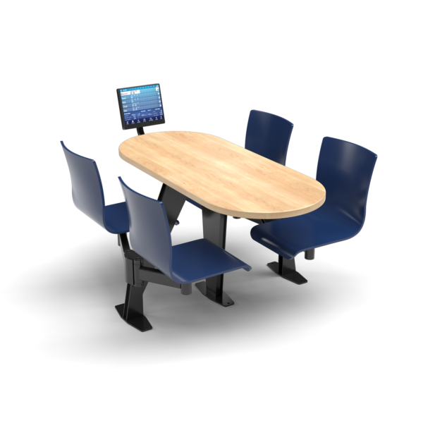 CS, Swing Swivel, Oval Sugar Maple Table, Regimental Blue Plyform Chair with Black Weldment