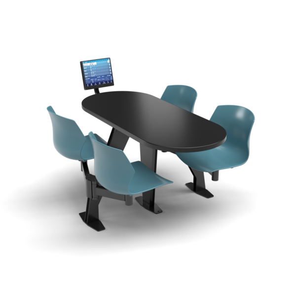 CS, Swing Swivel, Oval Black Table, Grayblue Plastic Chair with Black Weldment